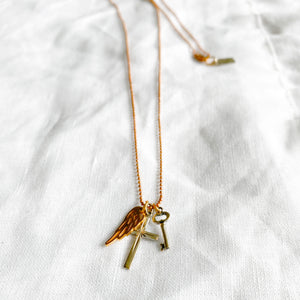 BelleStyle Wing cross key charm necklace rose gold chain long