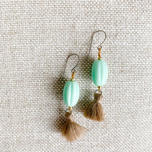 Sustainable fashion mint vintage bead tassel earrings