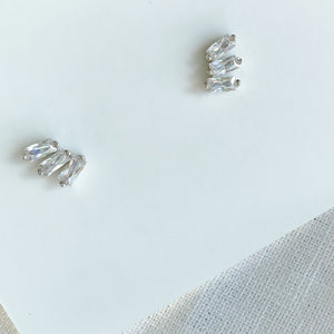 Beverly Glen Stud Earrings - Bellestyle sterling silver gold post everyday baguette crystals