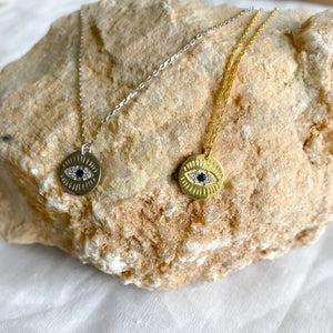 Bellestyle round evil eye charm necklace
