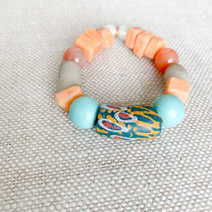 african prayer bead bracelet in blue and peach