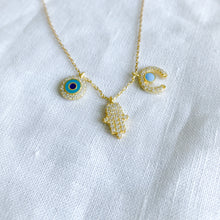Bellestyle gold charm necklace evil eye hamsa horn charms