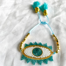 Turquoise Seed bead evil eye adjustable tassel bracelet