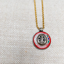 Tibetian elephant Buddha charm necklace gold chain