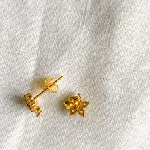 Gold star crystal post earrings