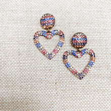 pastel pave crystal heart design post earrings