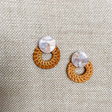 Wicker basketweave drop statement earrings