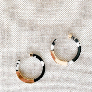 Black and white with gold details tortoise shell earrings