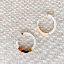 White gold tortoise shell hoop earrings