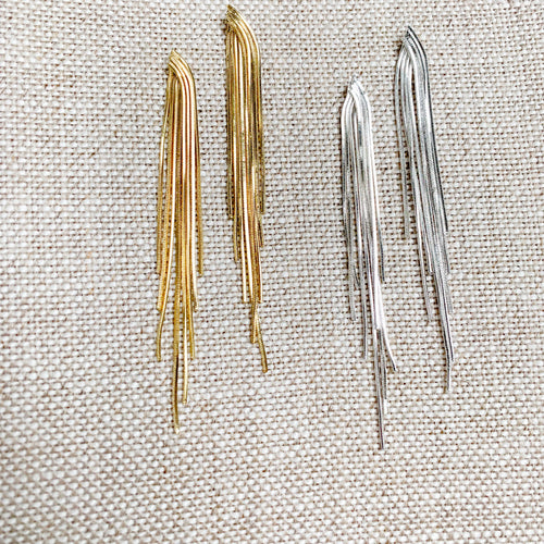Gold silver tassel earrings