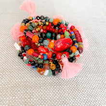 Multi colored stones with coral cotton tassel bracelet