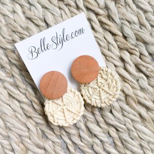 Natural wood basketweave post earrings