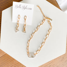 Bellestyle link necklace earrings gold