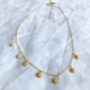 Bellestyle gold seven star dangle necklace