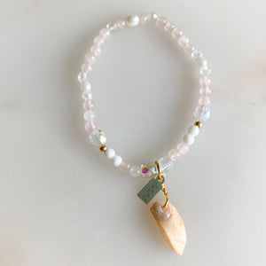 Morgan Sustainable Shell Bracelet - BelleStyle - crystal quartz rose quartz freshwater pearl handmade pink girls vintage mother of pearl shells
