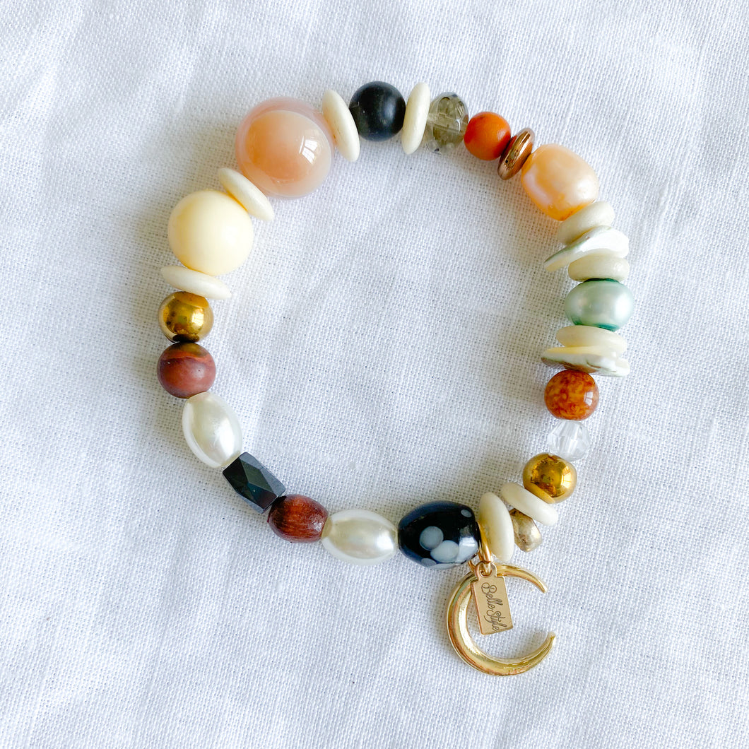 Bellestyle Natural semi-precious stone crescent moon charm bracelet agate freshwater pearls rosewood jasper brass shell
