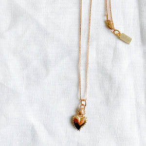 Sacred Heart Rose Gold Charm Necklaces - BelleStyle