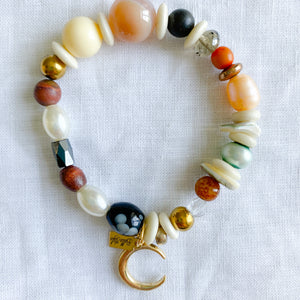 Bellestyle crescent moon gold charm bracelet agate jasper freshwater pearls crystals hematite