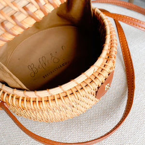 Natural Bali bag rattan wood leather strap
