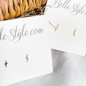 Bellestyle silver gold lighting bolt earrings