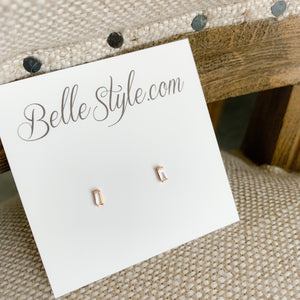 Mini Baguette Earrings - BelleStyle