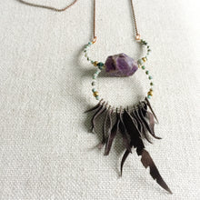 Amethyst fringe necklace with turquoise, hematite and crystals.