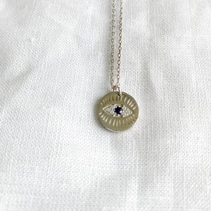 Bellestyle round pave crystal silver charm evil eye necklace