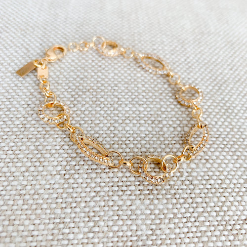 Gold pave crystal circle bracelet