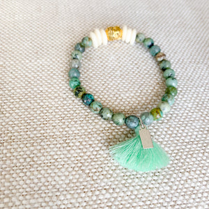 Buddha bracelet turquoise stone with mint cotton tassel