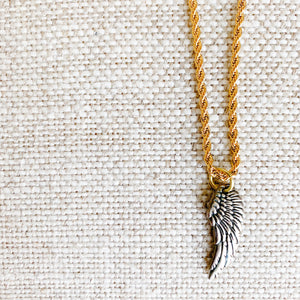 Pewter angelwing charm necklace on gold chain