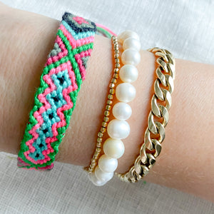 Hand Braided Friendship Multi Colored Bracelet - Bellestyle Green Pink