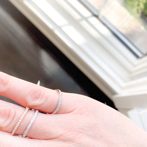 Diamond 14KT White Gold Stackable Ring - BelleStyle