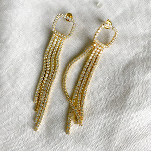 Bellestyle pave crystal tassel long statement post stud earrings gold