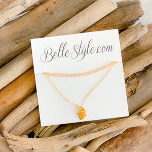 Hamsa Gold Mini Necklace - BelleStyle