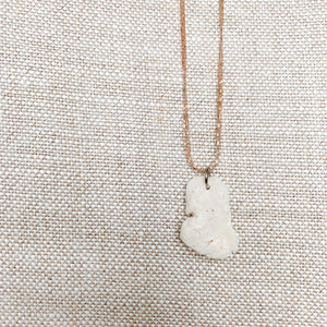 Double rose gold chain necklace white coral charm