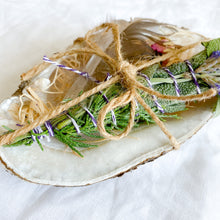 Bellestyle organic smudge stick set in abalone shell crystal feather