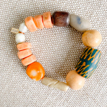 African prayer beads sustainable bracelet green neutral peach