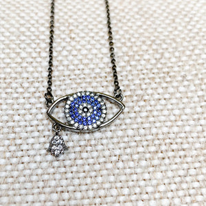 Gunmetal evil eye necklace with hamsa hand