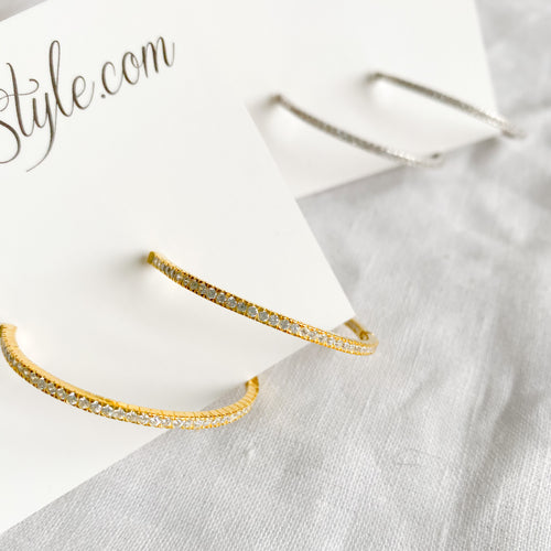 Bellestyle pave gold silver hoop earrings
