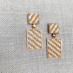 Woven raffia natural post earrings