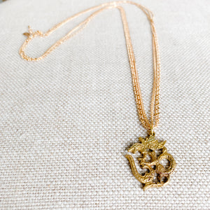 Om aum charm necklace gold