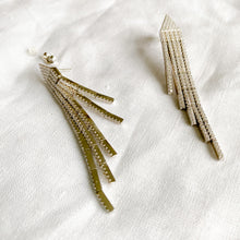 BelleStyle silver pave crystal tassel statement earrings