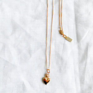 Rose gold sacred heart charm necklace box chain