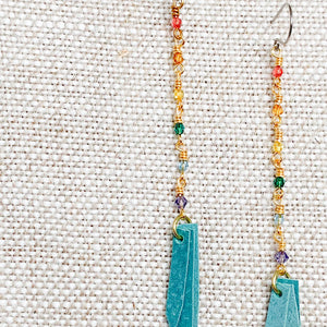 Swarovski crystal dangle earrings with turquoise leather tassels