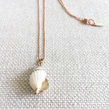 White shell gold detail rose gold ball chain necklace