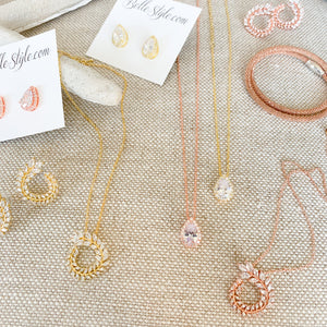 Laurel collection bridal wedding rose gold gold silver crystal necklace earrings