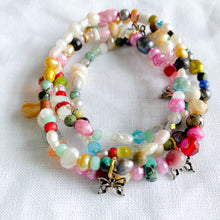 Multi colored semi precious stone and freshwater pearls butterfly charm bracelet