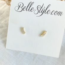 Crescent Stud earrings - Bellestyle sterling silver gold baguette crystal post everyday