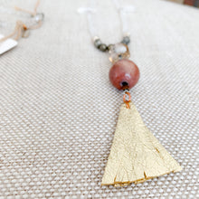Gold tassel necklace rosewood charm