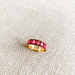 Pink baguette crystal gold ring